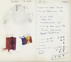 Costing details from John Lyndon's book detailing all the expenses for various Fool clothing itemsDesign by The Fool for Apple Boutique, 1968  (http://dandyinaspic.blogspot.co.uk/2012/11/the-fool-beatles-and-story-of-apple.html)