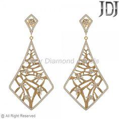 14k Gold Pave Diamond Earrings Jewelry, Gold Diamond Earrings #wholesale #supplier #diamond #earrings #vintage #modern #luxury
