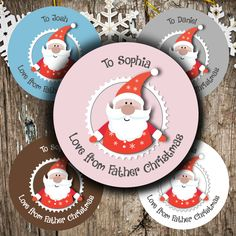 Make Christmas wrapping easier with these fabulous personalised Christmas stickers If you want to enter your own Love from text e g Mummy Granny Dad Christmas Cover, Christmas Stickers, Father Christmas, Xmas, Baby Month Stickers, Calendar Stickers, Christmas Decorations, Christmas Ornaments, Holiday Decor