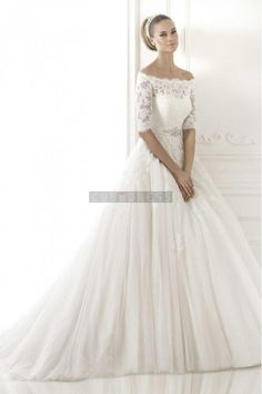 Off-shoulder Half Sleeves Beading Sash Princess Wedding Dress