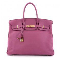 Hermes Purple Leather Handbag