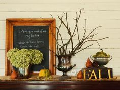 Warm and Welcoming - Create a Welcoming Fall Entryway on HGTV Rustic Thanksgiving, Thanksgiving Decorations, Seasonal Decor, Table Decorations, Thanksgiving 2013, Thanksgiving Wallpaper, Thanksgiving Tablescapes, Mantelpiece Decor, Autumn Decorating