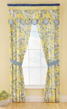 French Star Blue & Yellow Drapes