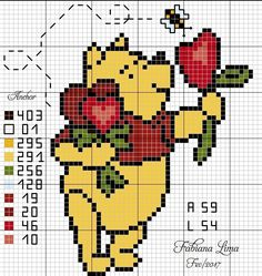 Ursinho Pooh ponto cruz, urso, apaixonado, coração