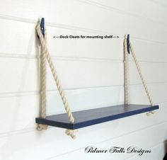 Great #DIY idea: Swing Rope Shelf / Nautical Nursery / Beach House / Lake House / Home Decor / Wall Shelf / Nautical Decor / Bathroom Shelf / Kitchen Shelf on Etsy, $45.00