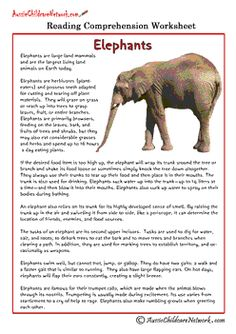 Elephants & other great Reading Comprehension Worksheets Reading Comprehension Activities, Reading Worksheets, Comprehension Strategies, Reading Fluency, Reading Passages, Reading Strategies, Reading Skills, Teaching Reading, Guided Reading