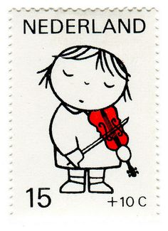 Postage Stamp: Dick Bruna, violin Netherlands postage stamp, designed by Dick Bruna. postage stamp, designed by Dick Bruna. Motif Music, Postage Stamp Design, Illustrations Vintage, La Haye, Art Postal, Ligne Claire, Love Stamps, Vintage Stamps, Grafik Design