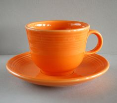 Vintage Orange Fiestaware Cup and Saucer