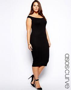 Image 1 of ASOS CURVE Exclusive Body-Conscious Dress With Bardot Neckline