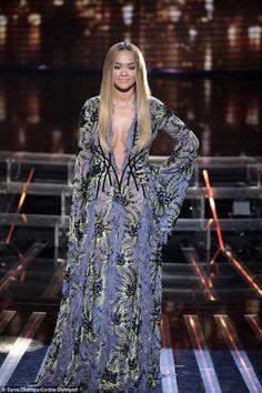 Rita Ora wearing Versace Fall 2015 Couture