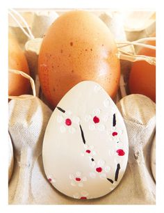 Cherry blossom Easter ornaments-Set of 3, white ceramic. #easter #eggs