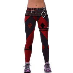 New Fashion Women Leggings 3D Printed Imitative Punk Rock Belt Legins Leggins Workout Pant Legging Harley Quinn Sexy Low Waist - free shipping worldwide