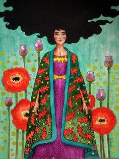 hülya özdemir — to keep herself from thinking Art And Illustration, Watercolor Illustration, Painting Inspiration, Art Inspo, Figurative Kunst, Portrait Art, Portraits, Face Art, Art Girl