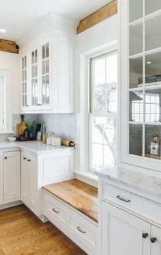 Built-in Window Seat with cabinetry on either side to make up for loss of cabinets on the wall above sink. (Putting windows in there instead). Love the window seat under low window to keep cabinets going White Farmhouse Kitchens, Farmhouse Kitchen Cabinets, Kitchen Cabinet Design, Kitchen Designs, Home Kitchens, Farmhouse Style, Farmhouse Bench, Modern Farmhouse, Farmhouse Sinks