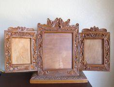 Antique oak Tramp art carved folding wood by TheOldVintageShoppe, $248.00