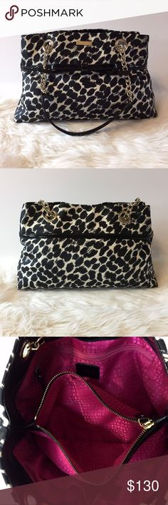 """Kate Spade New York Cheetah purse-Gently loved Kate Spade New York cheetah print purse-Great gently-loved condition-Black & Cream color with hot pink lining-Measures approx 12 1/2"""" tall from top to bottom seam-15""""wide-5""""deep-Handle adds approx 9""""-It has a couple spots as seen in 4th pic. So light you can barely see it. Kate Spade New York Bags Satchels"""