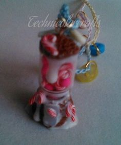 Gingerbread gumball machine necklace