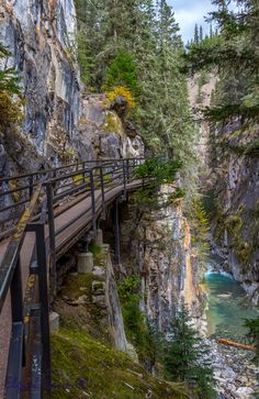 Johnson Canyon Catwalk - The hike up Johnson Canyon in Banff National Park is by rocky trail and metal catwalk attached to the canyon wall.