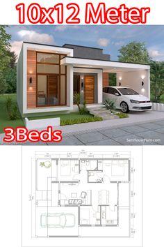 One Storey House, 2 Storey House Design, Bungalow House Design, Modern House Facades, Modern House Plans, House Floor Plans, Two Story House Design, Small House Design, Small Villa