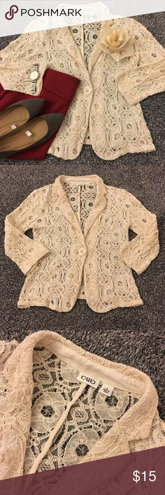 """Cream Lace Blazer Lovely lace blazer that'd be just wonderful for ur closet! Loved shape with lots of wear left 2 give! SF item! There were a few spots (mostly under the collar-I worked on them), tried 2 show in pic/may have missed something. Due 2 the busy fabric, there isn't any noticeable flaws 2 note. May have a random """"hole"""" in the lace or spot that I may have missed but it still looks g8 just the same. See pics 4 details/condition/measurements. Mid length sleeve (17.5). Offers Don't…"""