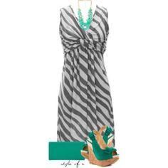 Gray Stripes with a Pop of Teal