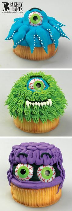 Funny Monster Cupcakes  I think any cake mix would work, but these pictures are awesome.