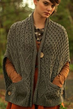 Carraig Donn Irish Aran Wool Sweater Womens Cable Knit Wrap With Pockets Cardigan Sweater. For inspiration
