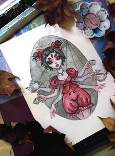 Muffet by BlackFurya Colorful Drawings, Cute Drawings, Aesthetic Drawing, Muffet Undertale, Undertale Fanart, Button Art, Gothic Art, Manga Drawing, Illustrations And Posters