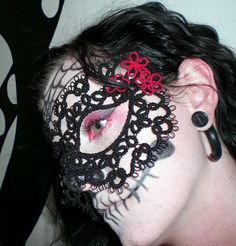 Tatted Lace Day of the Dead Mask by LillyInLace on Etsy, $60.00