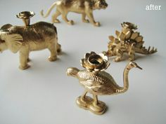 Plastic toy animals and little candle holders for birthday cakes sprayed with gold paint = fun little candle sticks