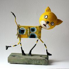 gérard collas,chat,assemblages sculpture