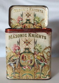 MASONIC KNIGHTS CIGARS VINTAGE TOBACCO TIN DATED 1915, IOWA FACTORY STAMPS