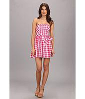 U.S. Polo Assn Cotton Plaid Strapless Dress with Self Belt Cheap