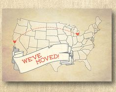 We've moved: moving announcement, new house, home, address change, customizable, save the date, printable cards, post card, postcard