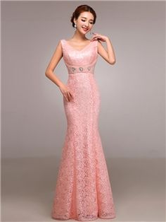 可愛いVネックパールシースレースイブニングドレス