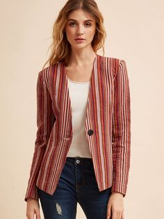 15$  Buy here - http://di8am.justgood.pw/go.php?t=8687 - Multicolor Vertical Striped Collarless One Button Blazer 15$