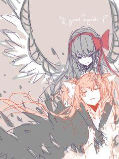 Devil Homura and Goddess Madoka from Madoka Magica.