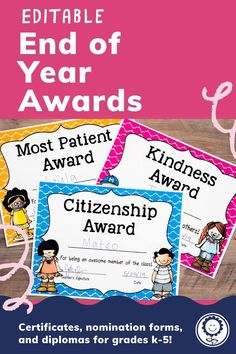 This set includes 202 pages of award certificates, teacher nomination forms, student nomination forms, note home to parents, and diplomas for grades K-5. I have also added blank award templates for you to add in your own award titles. There are also editable templates of ALL awards included so that you can type directly onto each award. With so many different options, you can easily find an award to fit every student in your classroom. Digital versions also included! #endofyear Google Classroo, Award Template, 4th Grade Classroom, Award Certificates, End Of Year, Homeschool, Awards, Parents, Teacher