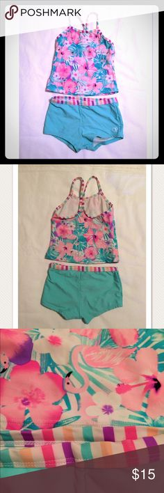 EUC little girl's OP tankini bathing suit EUC little girl's OP tankini bathing suit size 6/6x. This was worn a few times and was well cared for. This is a 2 pc swim suit with a floral design. Super cute! OP  Swim Bikinis