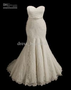 New Arrivals! Sexy Plus Size Wedding Dresses Mermaid Sweetheart Lace Beading Bow Bridal Dress Gown