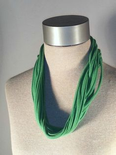 """Upcycled Light Green Jersey Tee """"Noodle"""" Scarf, 2 Ways to Wear, T-shirt Loop Scarf, Accessory. $10.00, via Etsy."""