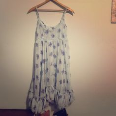 FREE PEOPLE Floral Chiffon Swing Babydoll Dress Lovely. Sheer. Swingy hem. Excellent condition except for one flaw (stretch) in the lace (seen in last pic). Free People Dresses