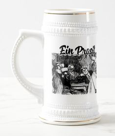 Shop Ein Prosit Beer Stein created by TheDigitalConsultant. German Beer Mug, Drink Beer, Beer Stein, Mugs For Sale, Mulled Wine, Frosted Glass, Mug Designs, Metallic Gold, 2 Colours