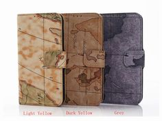 Map Pattern Series Card PU Leather Flip Case Stand
