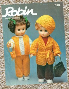 Original  Vintage Dolls Clothes Knitting Pattern 1970s ROBIN Barbie Knitting Patterns, Knitting Dolls Clothes, Doll Clothes, Crochet Patterns, Double Knitting, Baby Knitting, Crochet Baby, Retro Toys, Vintage Knitting