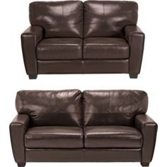 Vittorio Leather Large and Regular Sofa - Chocolate. looks like a really comfy set
