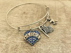 US AIR FORCE Silver Plated Bangle Charm Bracelet by SAjolie
