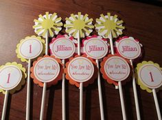 sunshine cupcake toppers. set of 12 cupcake by weloveaparty