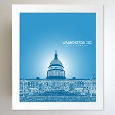 Washington DC Skyline State Capitol Landmark - Modern Gift Decor Art Poster 8x10. $20.00, via Etsy.