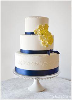 Navy & Yellow {Preppy-Chic} Wedding Cake by The Pastry Studio.